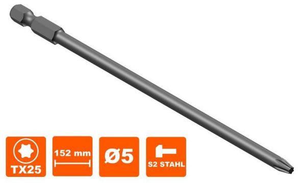 Bit 152 mm Torx Tx25 Antrieb, Ø 4.8 mm