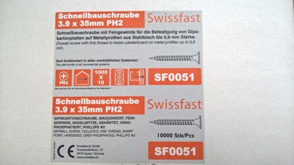 3.9 x 35mm magazinierte Schnellbauschraube mit Feingewinde, 1.000 Stück