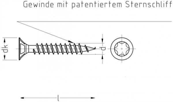 Holzbauschraube 3,0x30 mm, blau verzinkt, Vollgewinde, TX 10