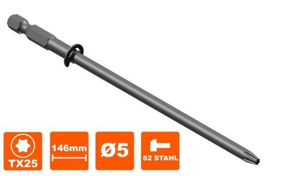 Bit 146 mm Torx Tx-25, Antrieb, MA55, 5 mm