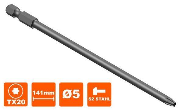 Bit 141 mm Torx Tx-20 Antrieb, Ø5 mm
