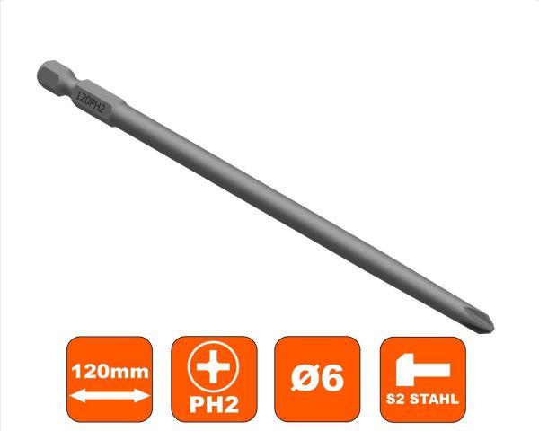 Schrauberbit 120 mm Philips PH-2 Antrieb