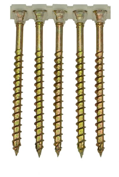 5.0 x 65mm magazinierte Holzbauschraube, gelb verzinkt, Torx25, 1.000 Stück