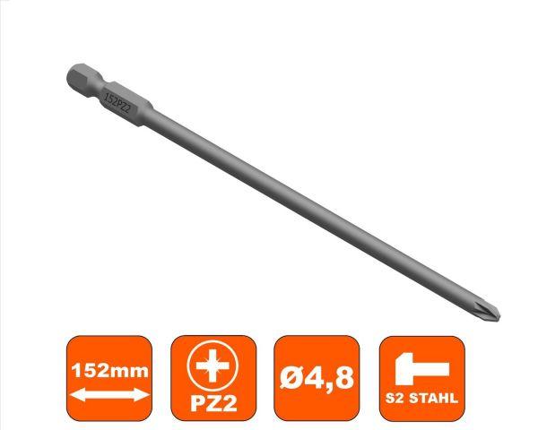 Bit 152 mm Pozi Drive PZ-2 Antrieb, Ø 4.8 mm