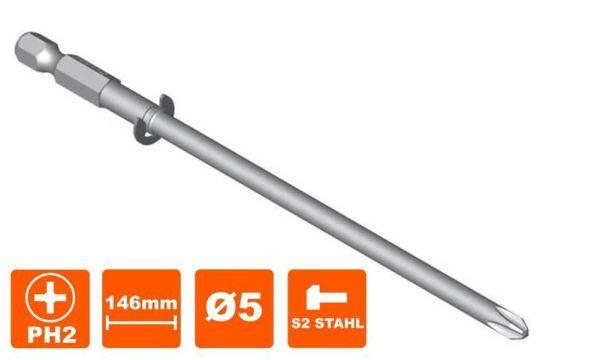 Ersatzbit Bosch MA55, Philips, PH-2, Antrieb, 5 mm, 2608522068, 146 mm