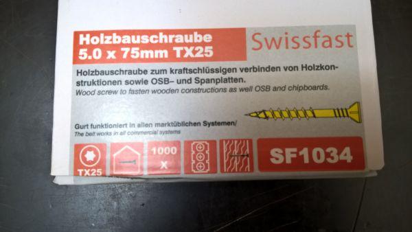 5.0 x 70mm magazinierte Holzbauschraube, gelb verzinkt, Torx25, 1.000 Stück